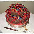 Chocolate Cigarellos and Fruit Wedding Cake
