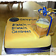 Large Coloplast cutting cake.