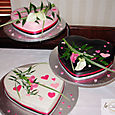 3 tier hearted shaped wedding cakes