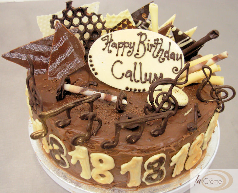 18th Chocolate Birthday Cake With Musical Notes La Creme