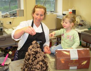 Sian and Isabel making a croquembouche 2