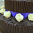 Dark Chocolate and ivory Roses Wedding cake