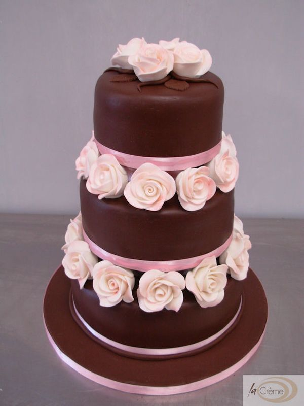 3 Tier Chocolate Wedding Cake With Pink Roses La Creme