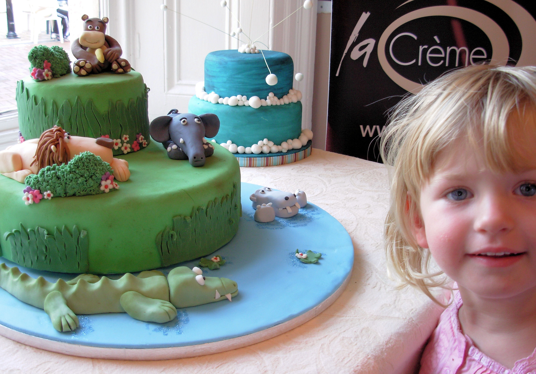 Jungle Birthday Cake On Display In Neath La Creme Patisserie Blog