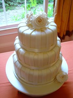 3 tier Cream Wedding Cake with diamantes