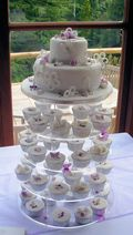 White & Violet 2 tier Wedding Cake plus Cup Cakes 2
