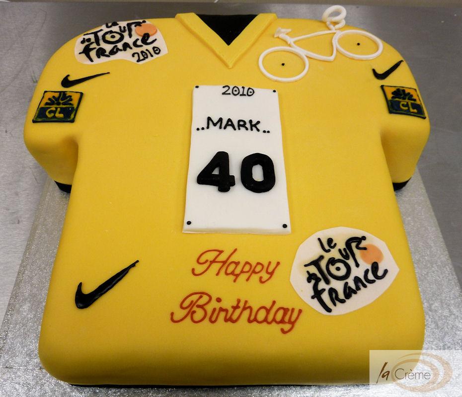 Tour de France Yellow Jersey 40th Birthday Cake   La Creme