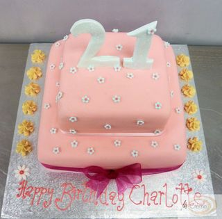 Pink 21st 2 tier Birthday Cake2