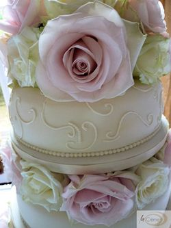 3 Tier Ivory Wedding Cake with Roses 4