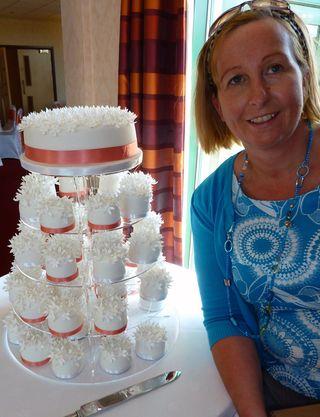 Individual mini blossom wedding cakes