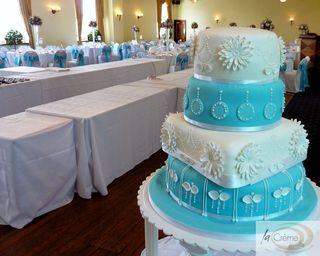 4 tier wedding cake for Towers Hotel Swansea