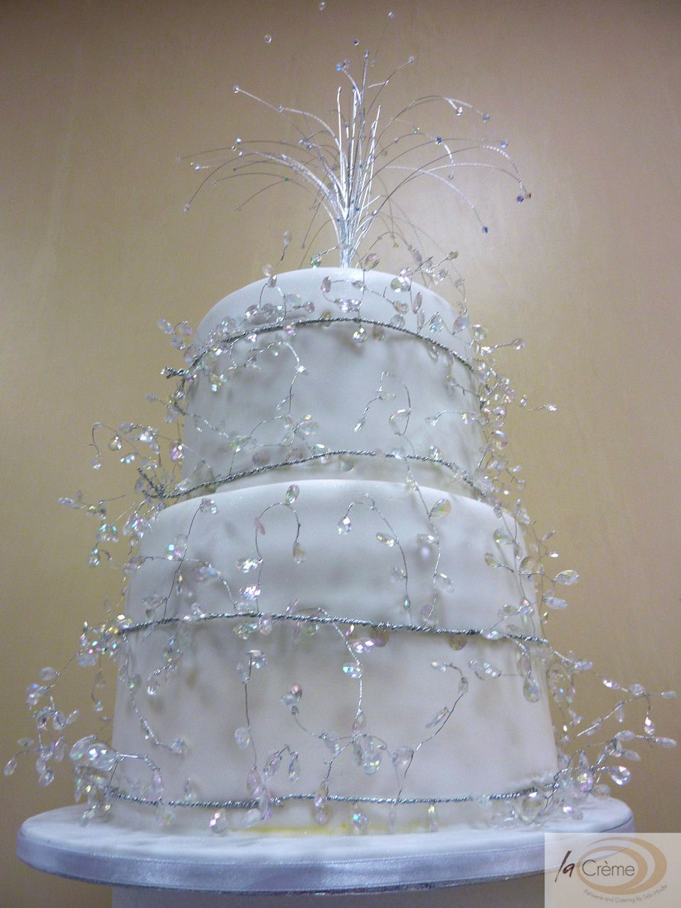 La Creme 2 Tier Large Wedding Cake With Beaded Decorati