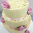 La Creme 3 tier cigarello wedding cake with pink roses