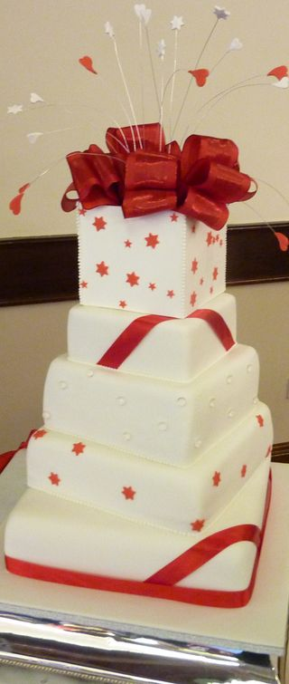 5 tier red & white wedding cake