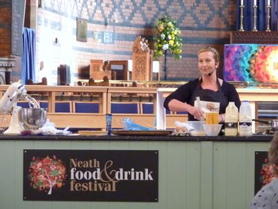 Sian demonstrating at the Neath food festival 2010 s