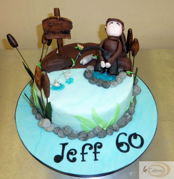 Gone fishing cake rugby cake and peppa pig cake La Creme