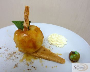 Baked Apple with whisky soaked raisins s