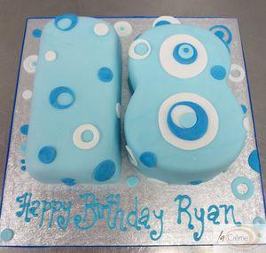 Blue 18th Shaped Birthday Cake