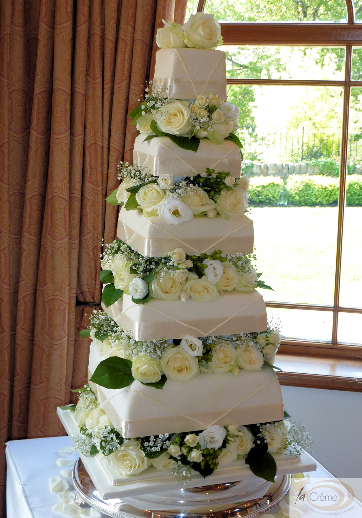 5 Tier Ivory Wedding Cake La Creme Patisserie Blog