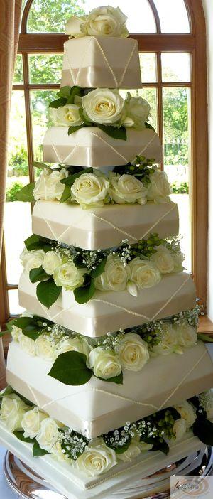 5 Tier Ivory Wedding Cake 9