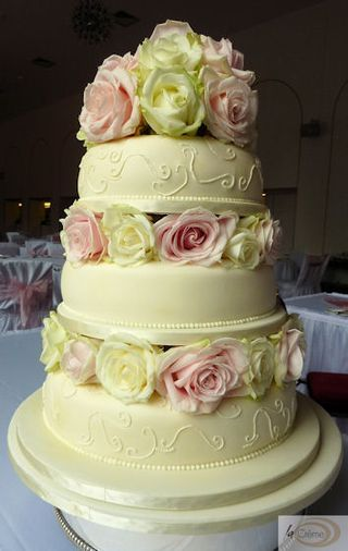 3 Tier Ivory Wedding Cake with Roses 3