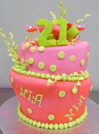 Wonky pink 21st birthday cake
