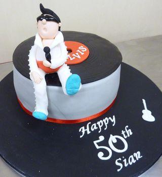50th Birthday Elvis record cake