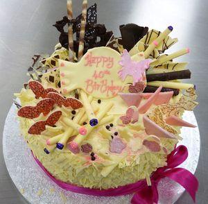 Happy 40th Birthday White chocolate Cake s