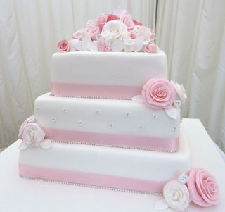 3 tier pink and white wedding cake s