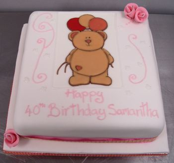 40th Birtdhay Cake With Teddy Bear
