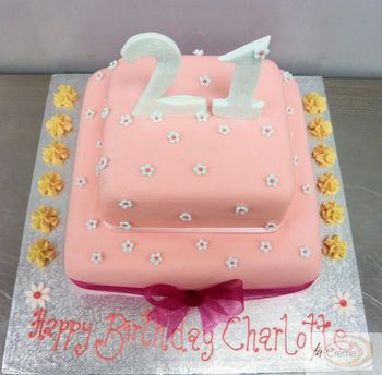 Pink 21st 2 tier Birthday Cake2