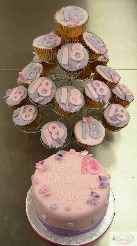18th Birthday cup cakes and top tier