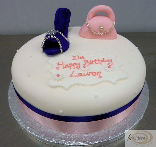 21st Birthday Cake with shoes and handbag2
