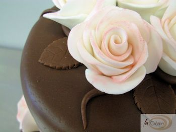 3 tier Chocolate cake with pink roses 1
