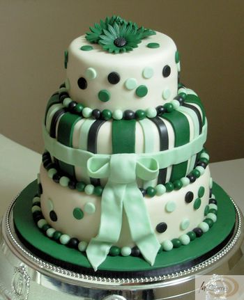 3 tier green wedding cake decorated in green mint black and white