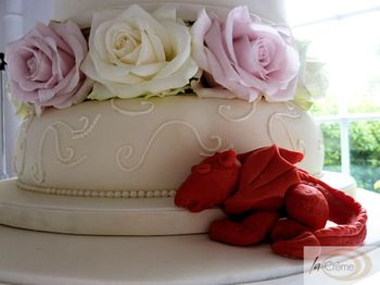 3 Tier Ivory Wedding Cake with Roses 2