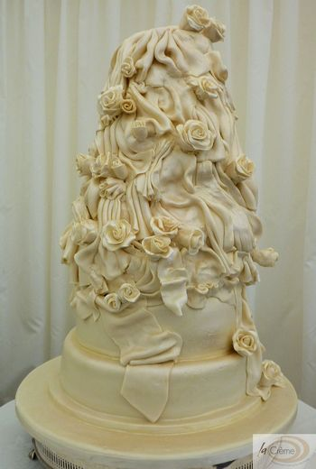 3 tier satin drape wedding cake