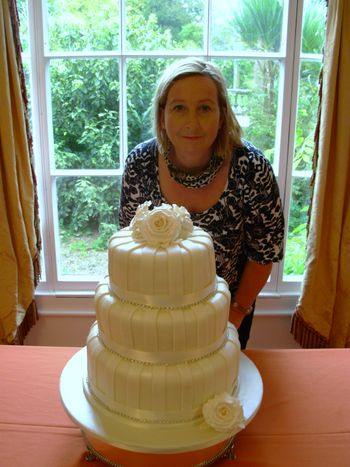Cream 3 tier Wedding Cake with diamantes and Sian