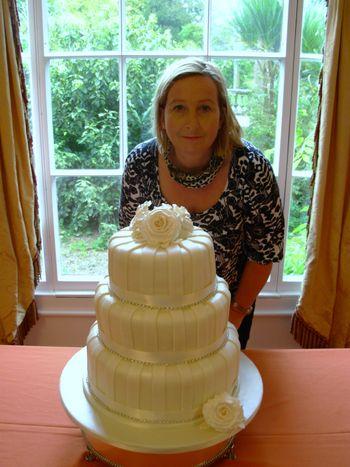 Cream 3 tier Wedding Cake with diamantes and Sian