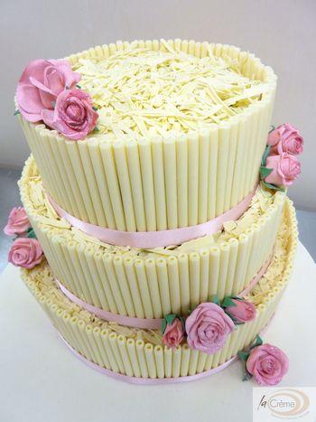La Creme 3 tier cigarello wedding cake with pink roses