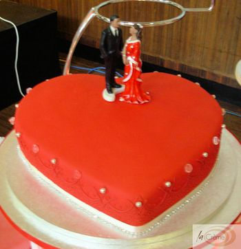 Red Heart Shaped Wedding Cake