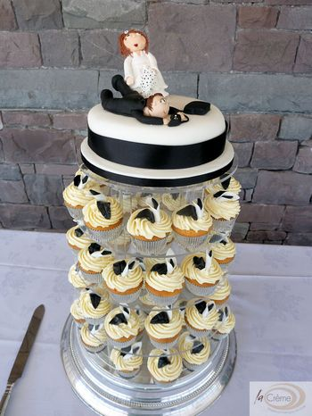 Wedding Cup cakes with calla lillies and topper