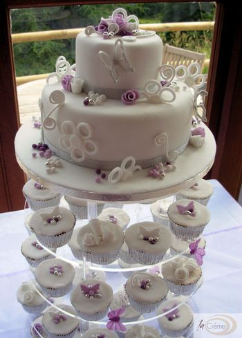 White & Violet 2 tier Wedding Cake plus Cup Cakes